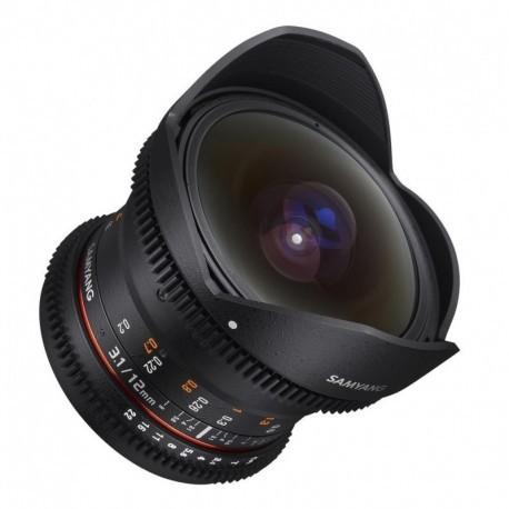 Samyang 12mm T3.1 Fisheye VDSLR compatible avec Canon EF