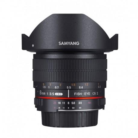 Objectif fisheye Samyang 8mm AE Nikon CS II Ref SAM8NIKONAE_CSII