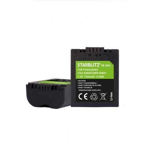 Batterie compatible PANASONIC CGA-S006E/DMW-BMA7 Batterie rechargeable Lithium-ion